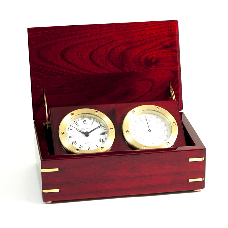 Rosewood Clock & Thermometer