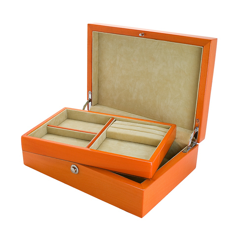 Orange Jewelry Box with Tray