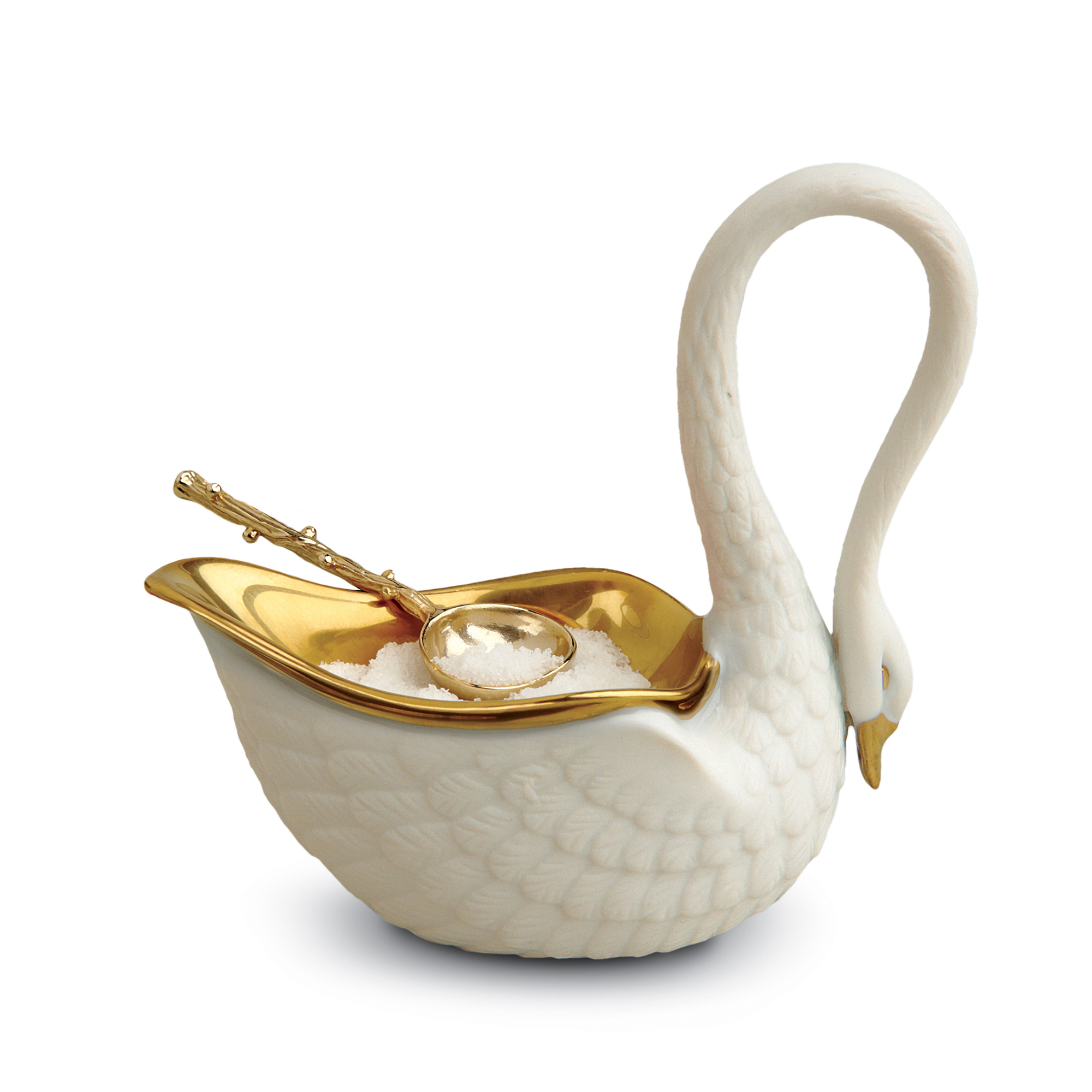 L'Objet Swan Salt Cellar & Spoon, White