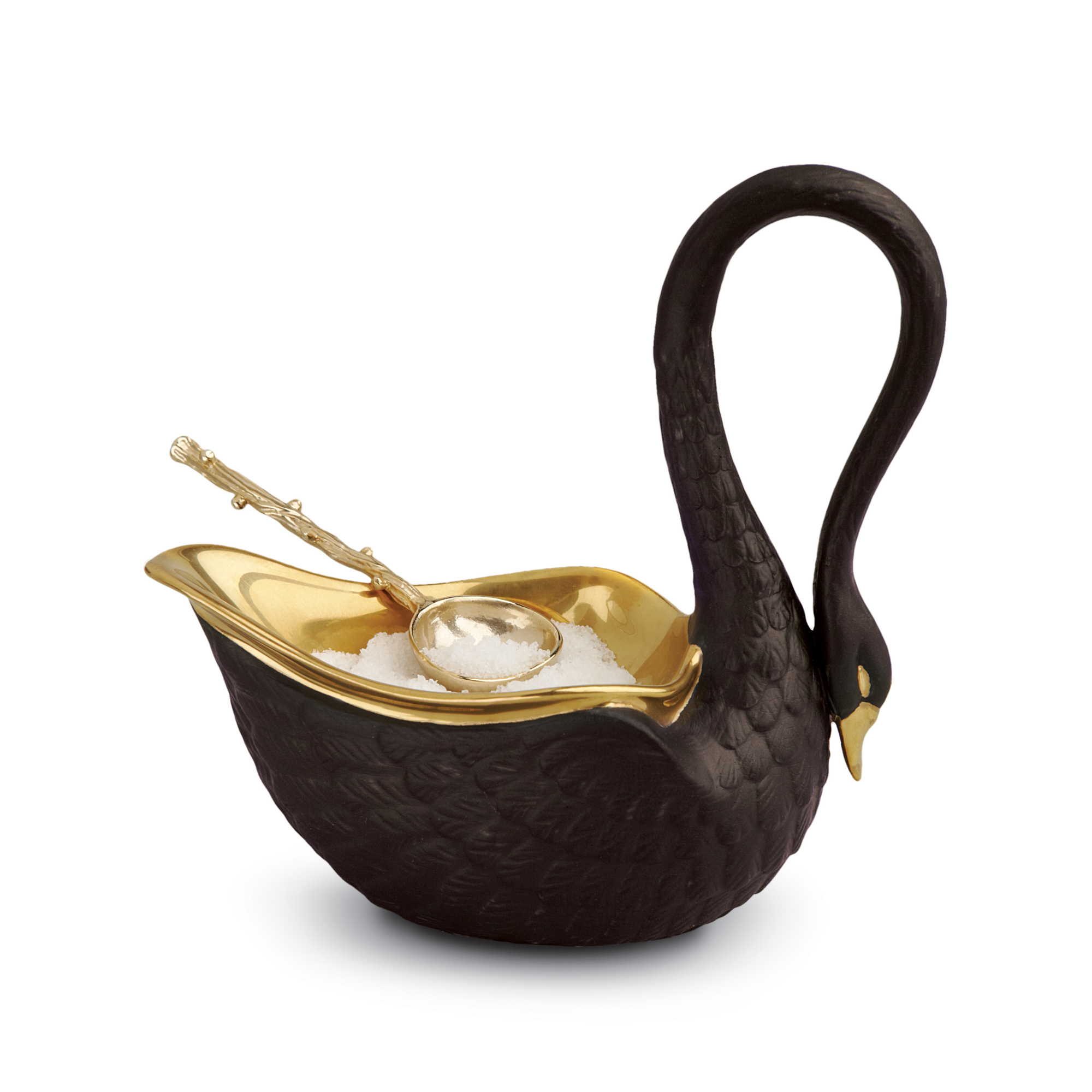 L'Objet Swan Salt Cellar & Spoon, Black