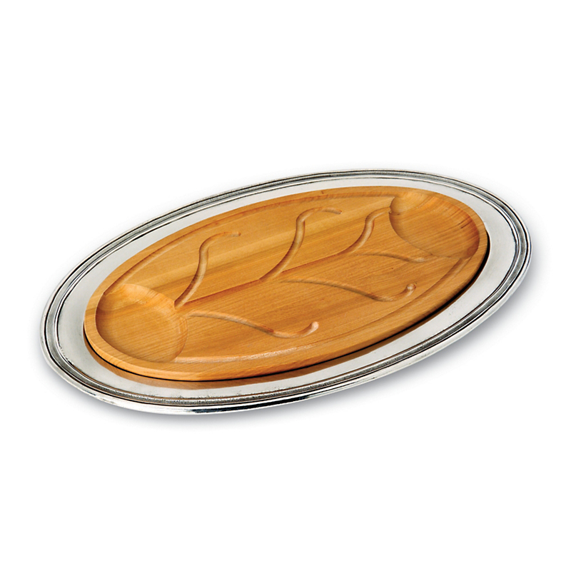 Match Oval Carving Platter with Wood Insert