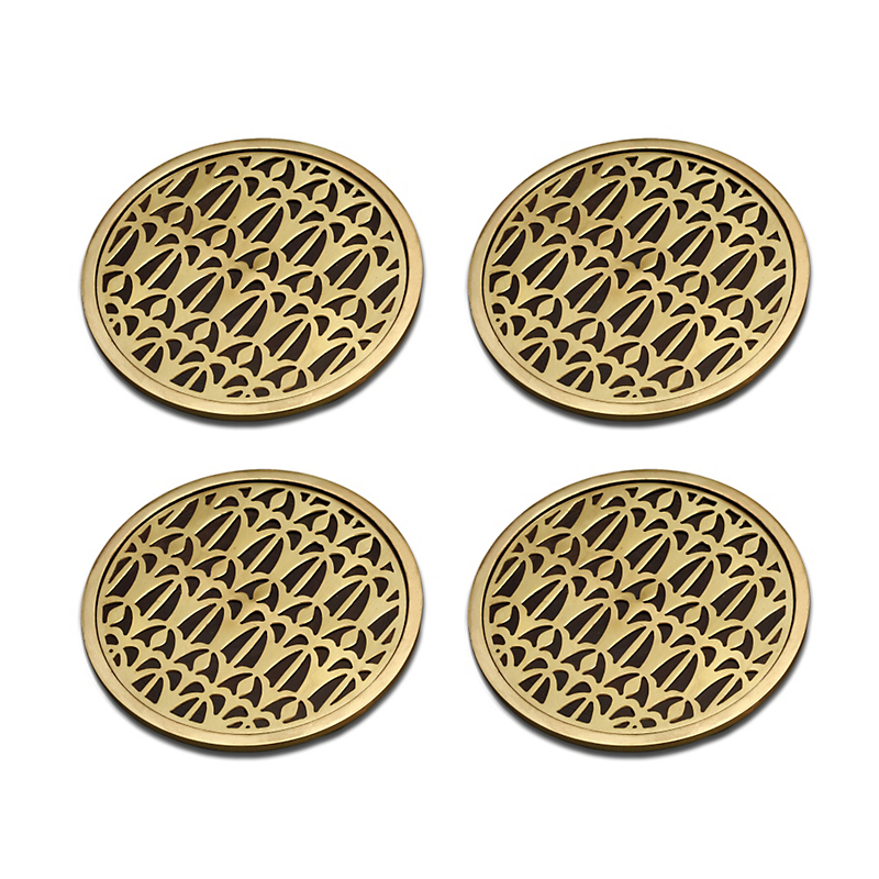 L'Objet Venise Brass Coaster, Set of 4