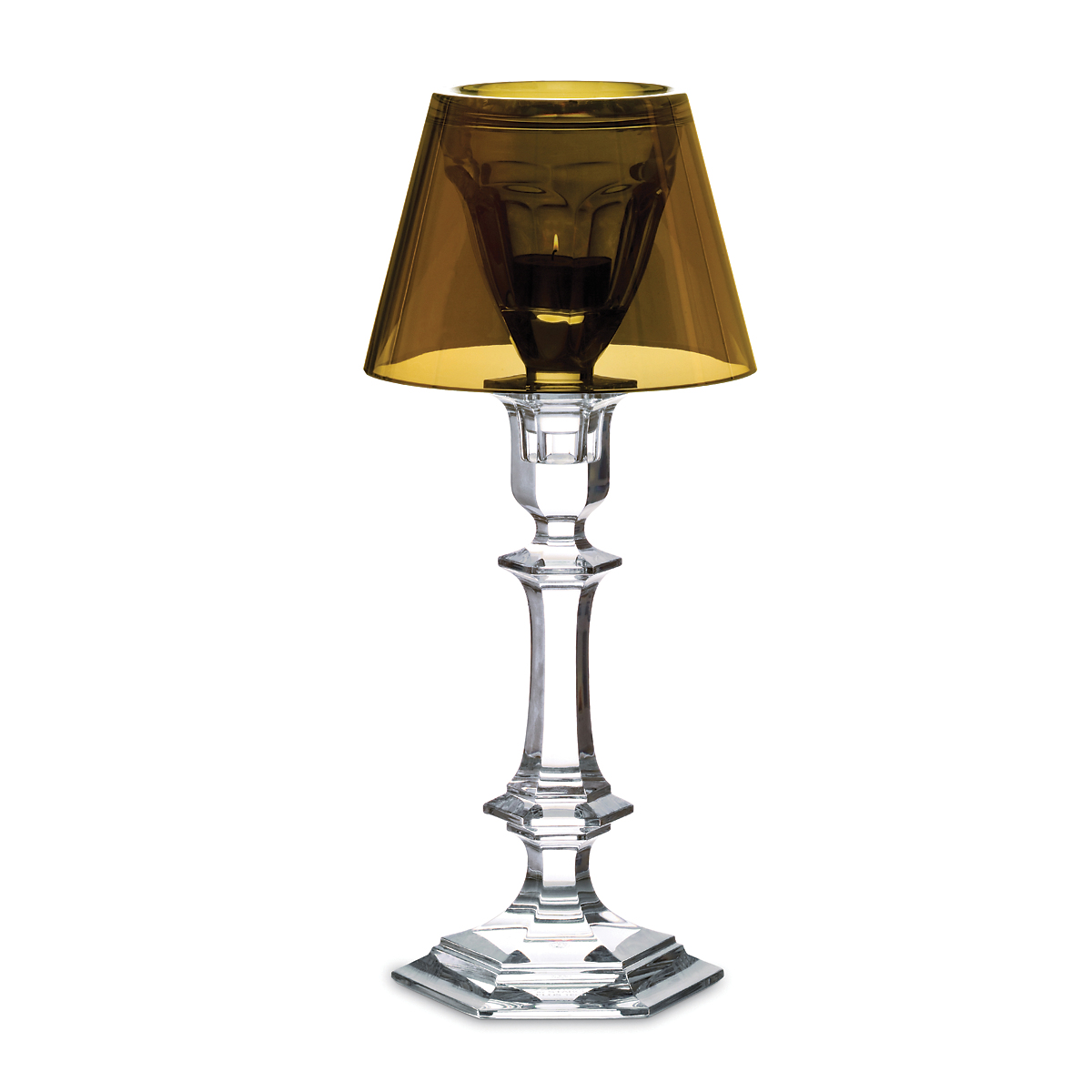 "Baccarat Harcourt ""Our Fire"" Candlestick with Gold Shade"