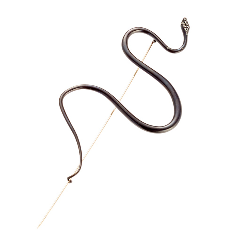 Gabriella Kiss Oxidized Bronze Large Spiral Snake Pin