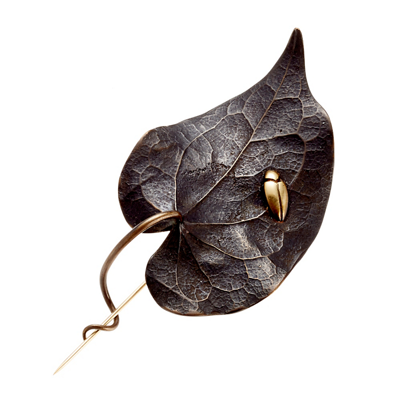 Gabriella Kiss Oxidized Bronze Leaf With Gold Leaf Hopper Brooch