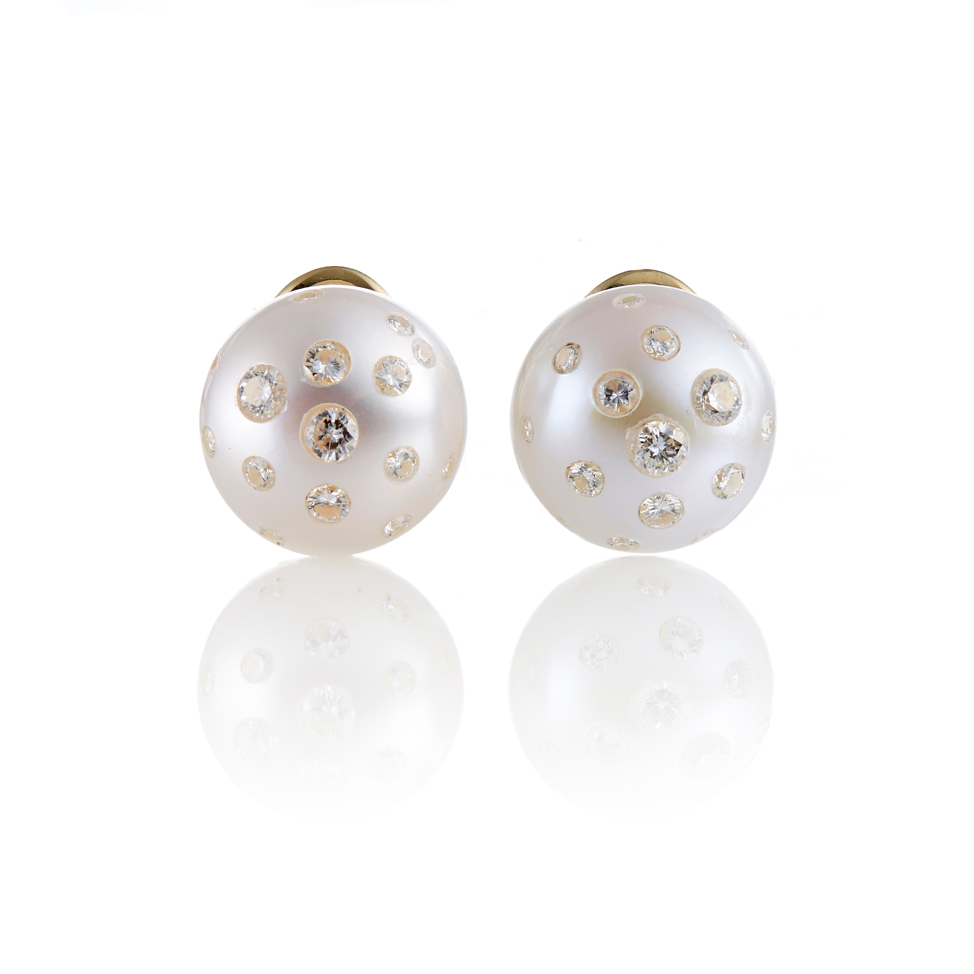 Russell Trusso Freshwater Pearl and Diamond Earrings