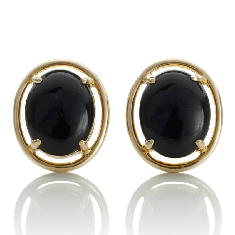 Gump's Black Jade Petite Cabochon Earrings