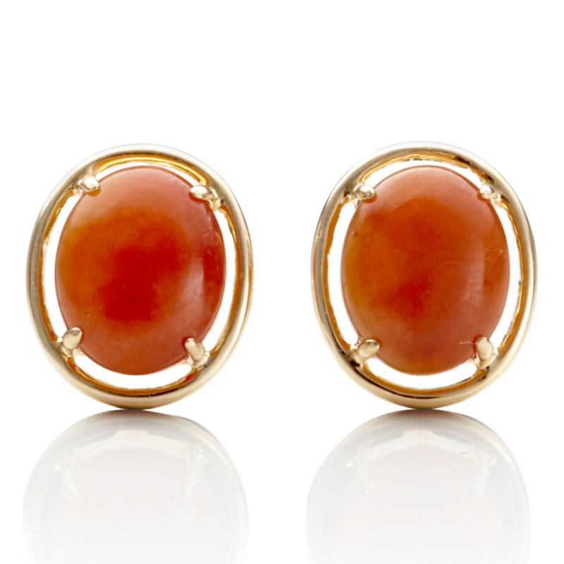 Gump's Red Jade Petite Cabochon Earrings