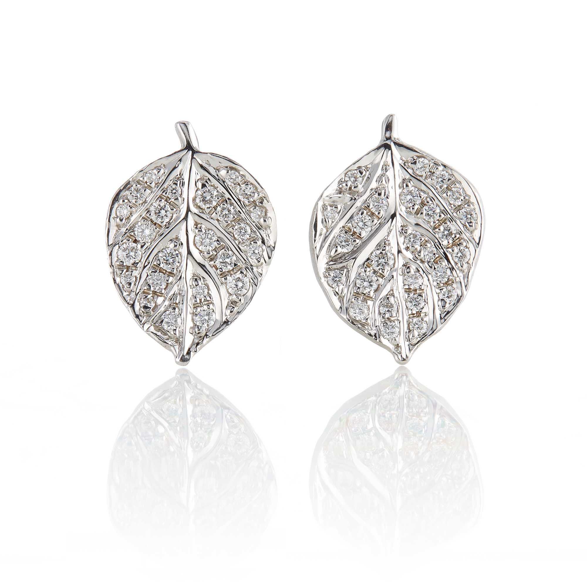 Aaron Henry Small Diamond Aspen Leaf Earrings