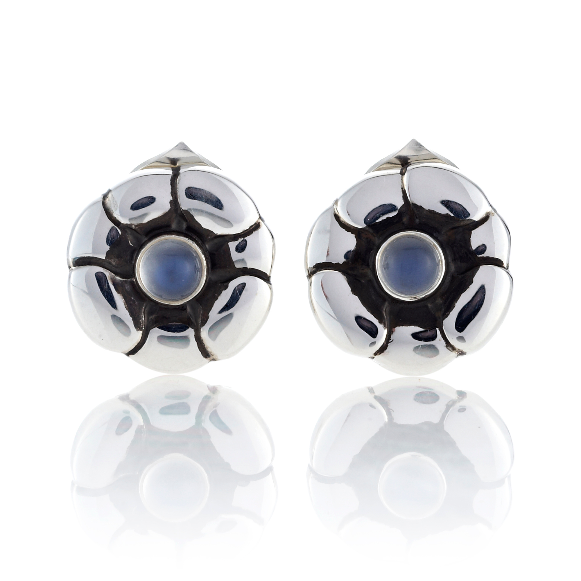 Georg Jensen Moonlight Blossom Sterling Silver Moonstone Flower Earrings