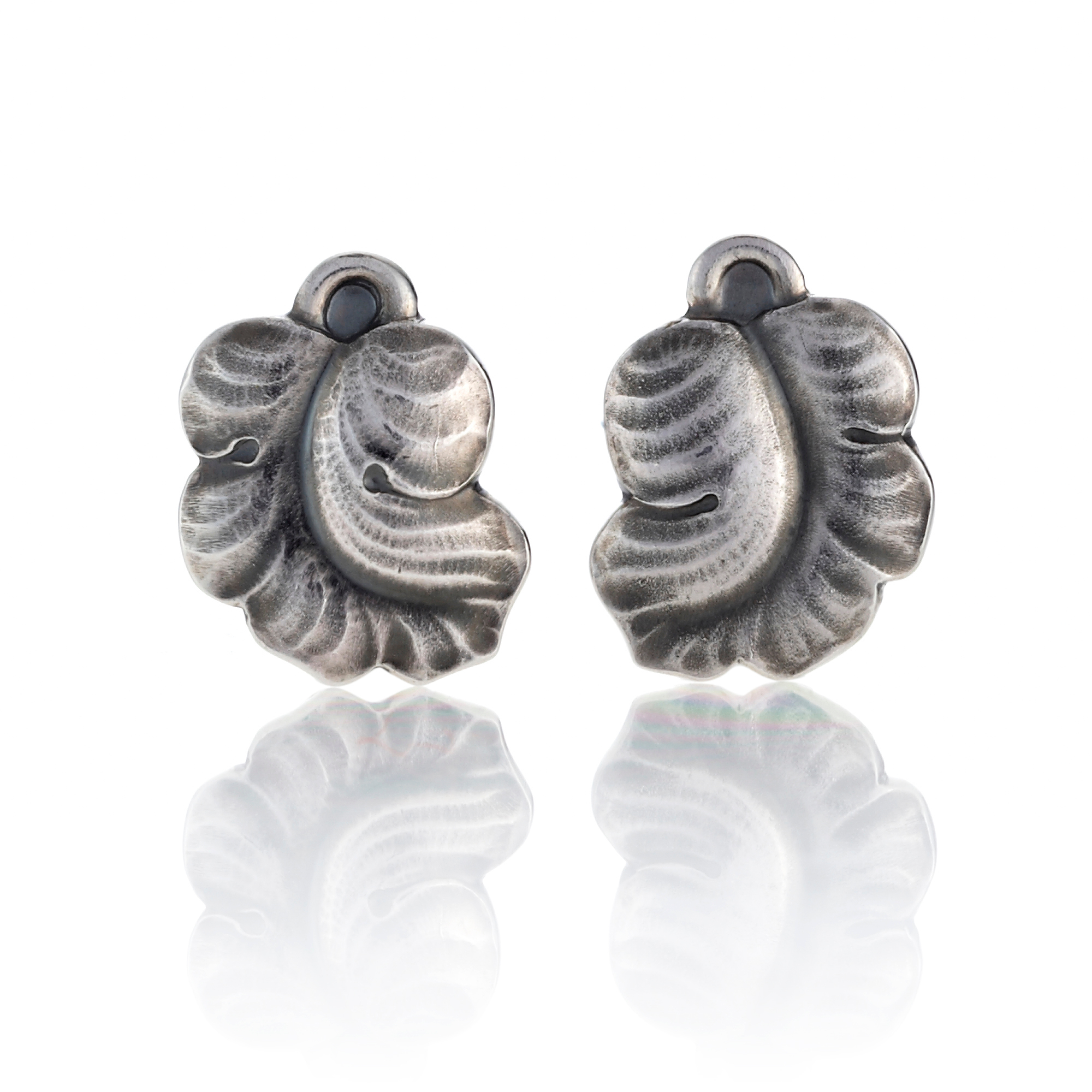 Georg Jensen Moonlight Grapes Sterling Silver Leaf Earrings