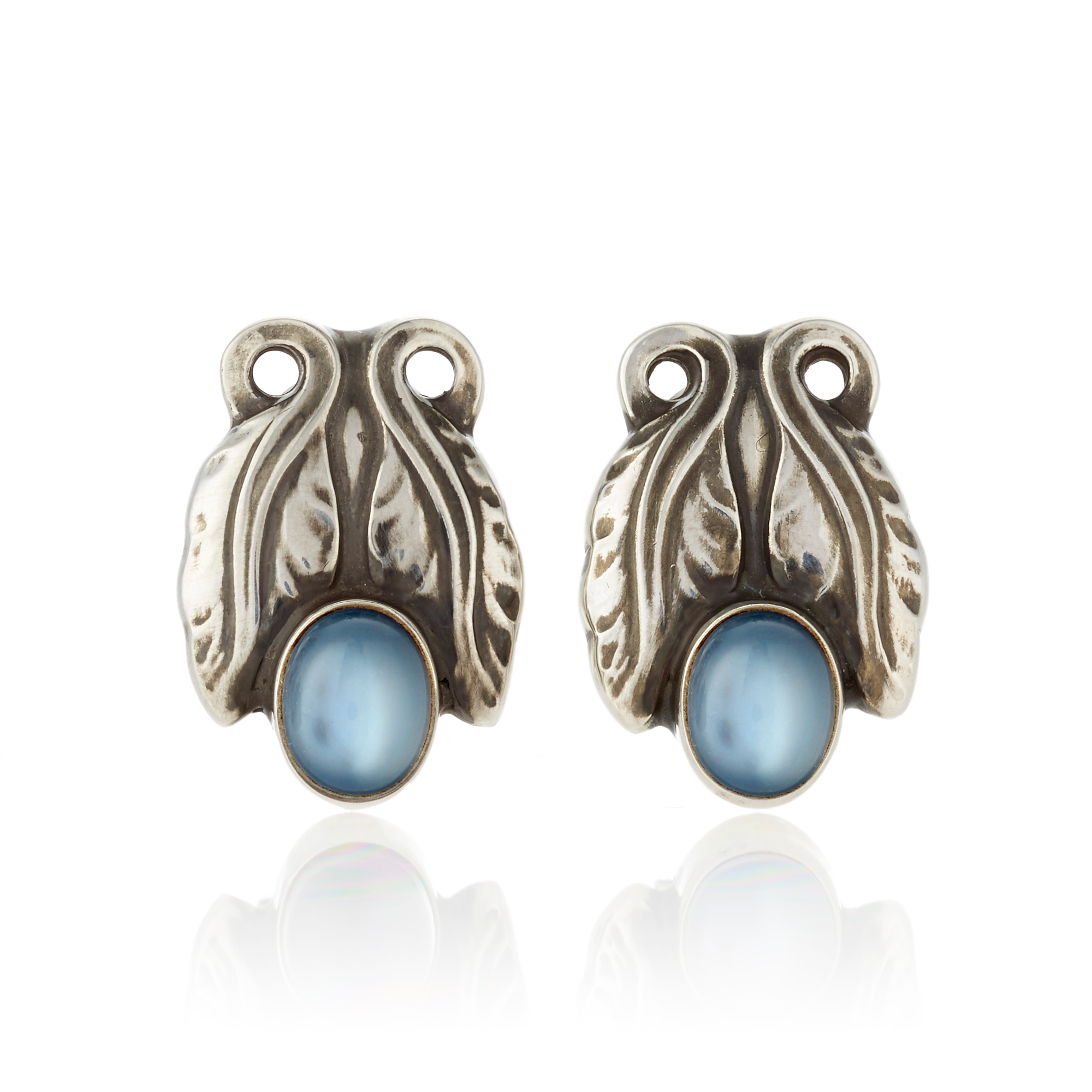 Georg Jensen Moonlight Blossom Moonstone & Sterling Silver Earclips