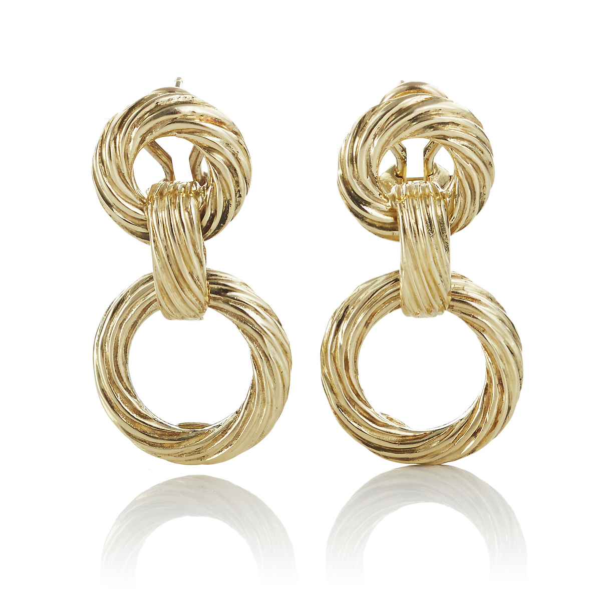 Circle Swirl Link Gold Drop Earrings