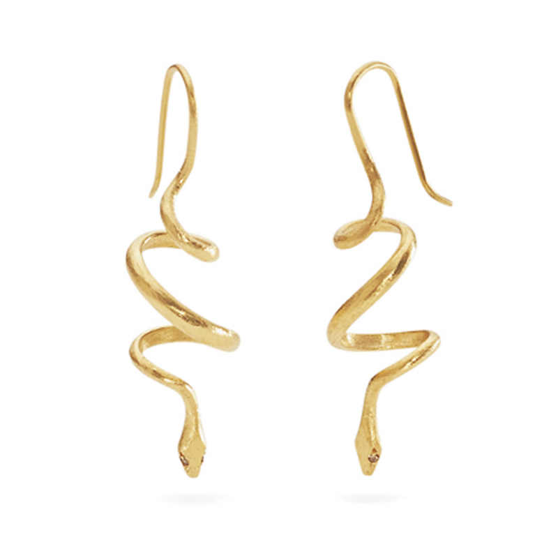 Gabriella Kiss Diamond Spiral Snake Earrings