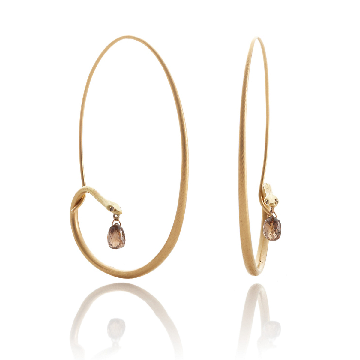 Gabriella Kiss Large Gold Diamond Snake Hoop Earrings