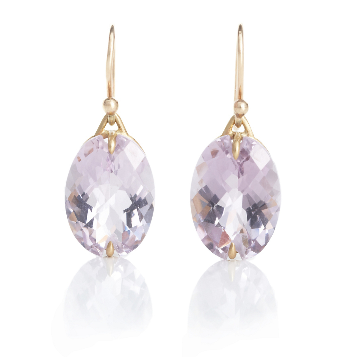 Gabriella Kiss Rose de France Amethyst Oval Earrings