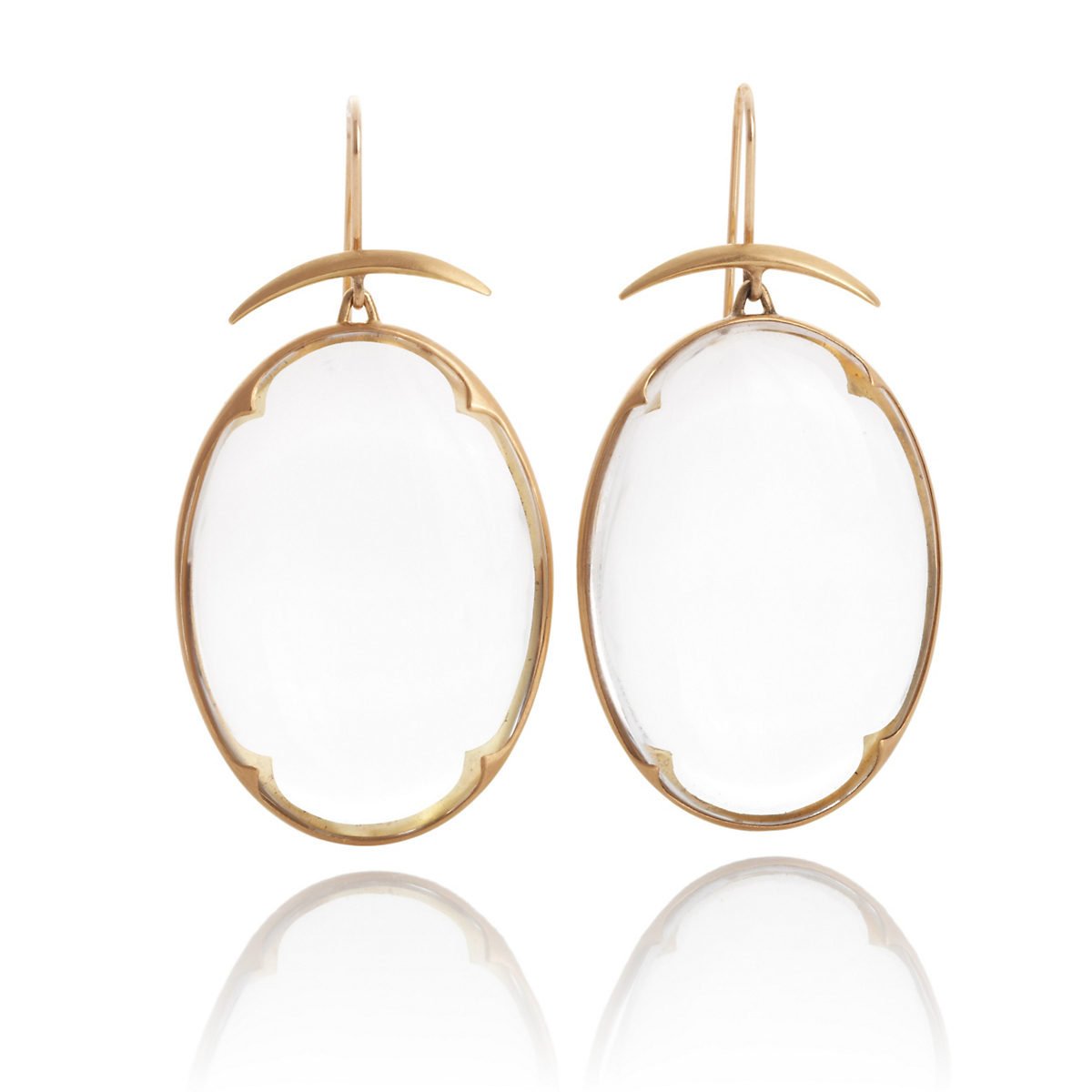 Gabriella Kiss Large Clear Quartz Lens Earrings
