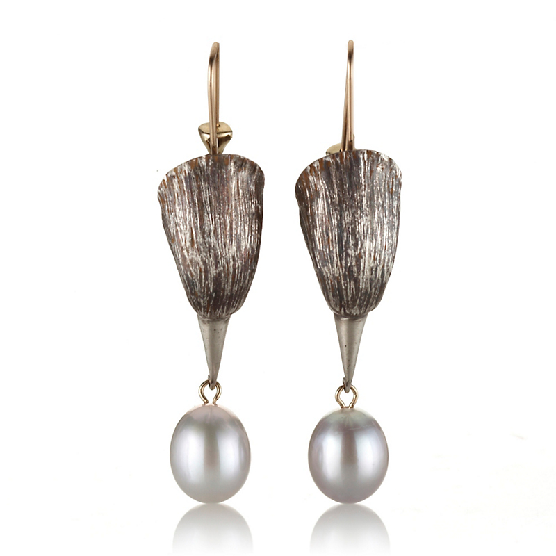Gabriella Kiss Silver Bird Head & Pearl Drop Earrings