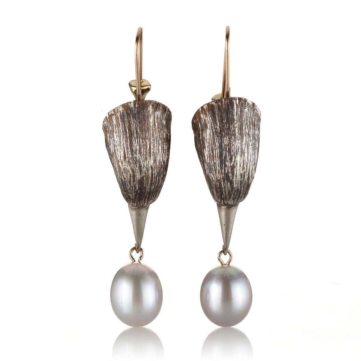 Gabriella Kiss Silver Bird Head Pearl Drop Earrings