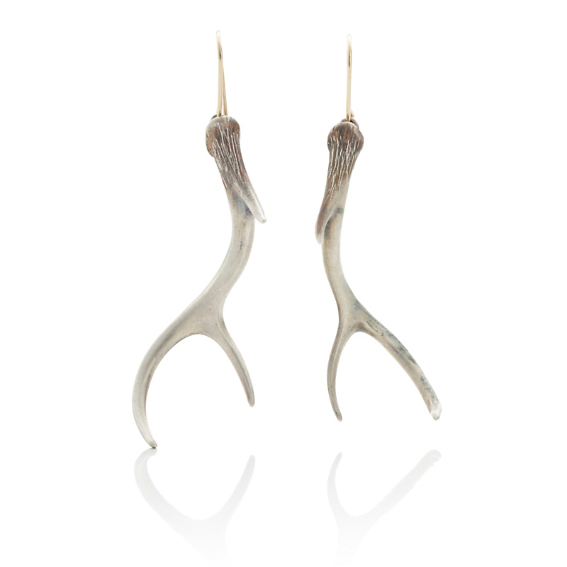 Gabriella Kiss Silver Antler Earrings