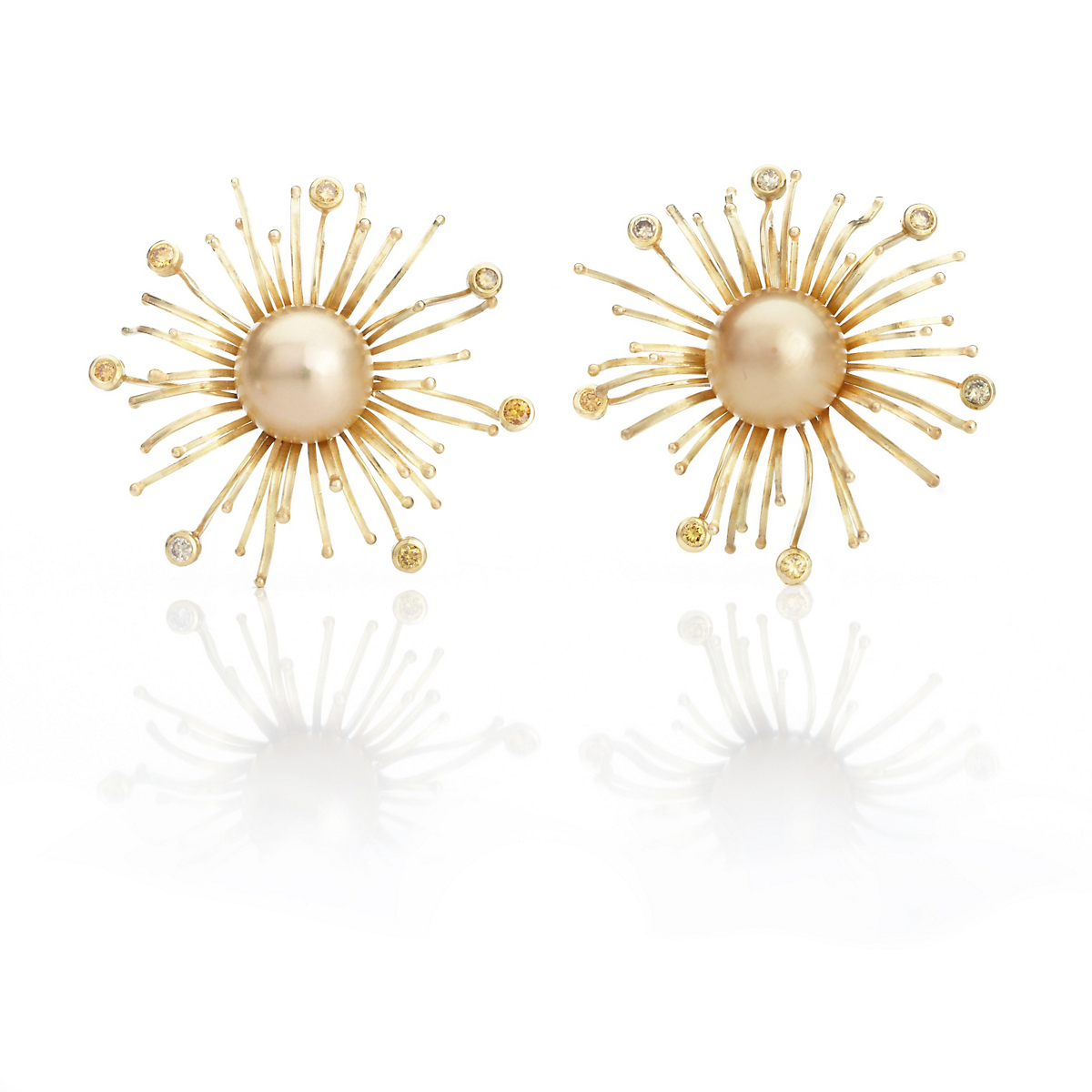 Barbara Heinrich Golden Pearl Sunburst Earrings