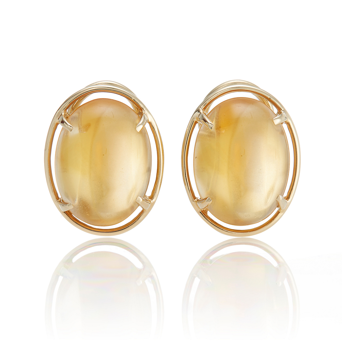 Gump's Citrine Cabochon Earrings