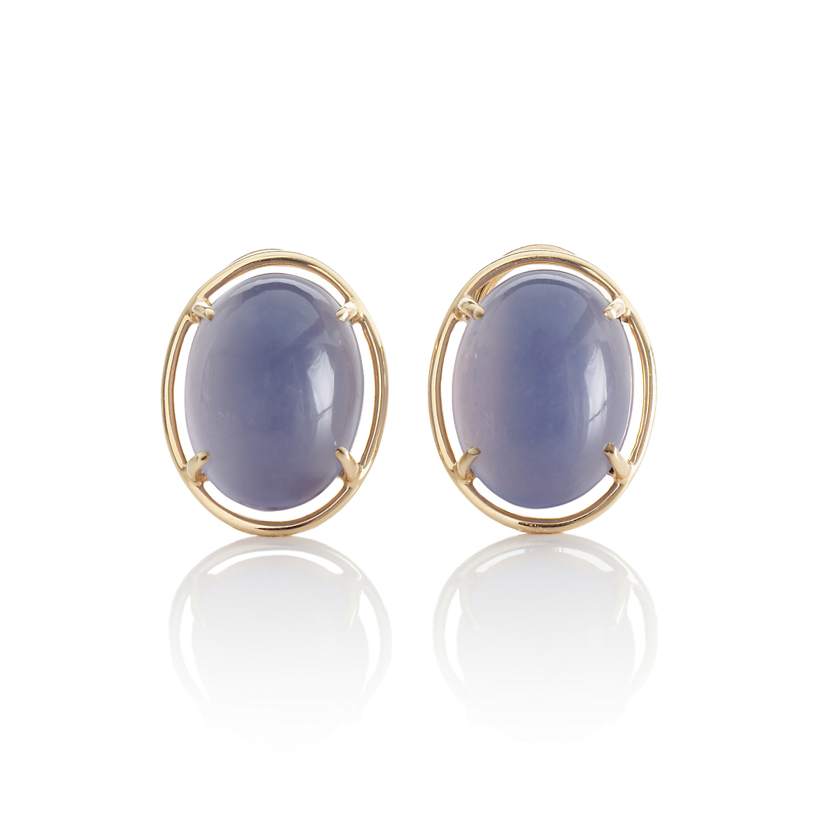 Gump's Chalcedony Cabochon Earrings