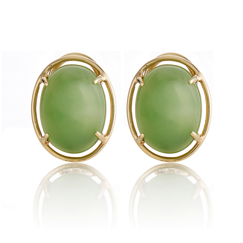 Gump's Green Nephrite Cabochon Earrings
