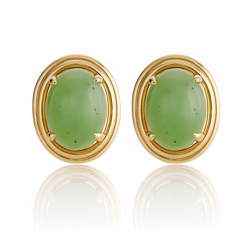 Gump's Green Nephrite Double Bezel Earrings