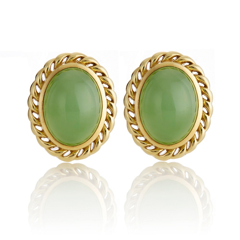 Gump's Green Nephrite Rope Border Earrings