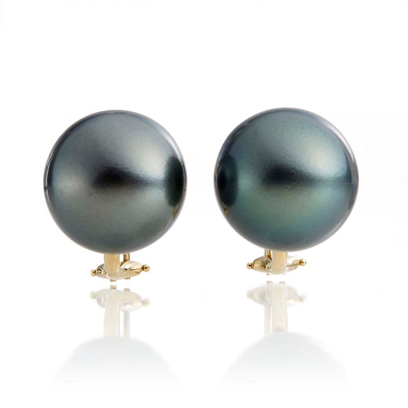 Gump's Blue Green Tahitian Pearl Earrings