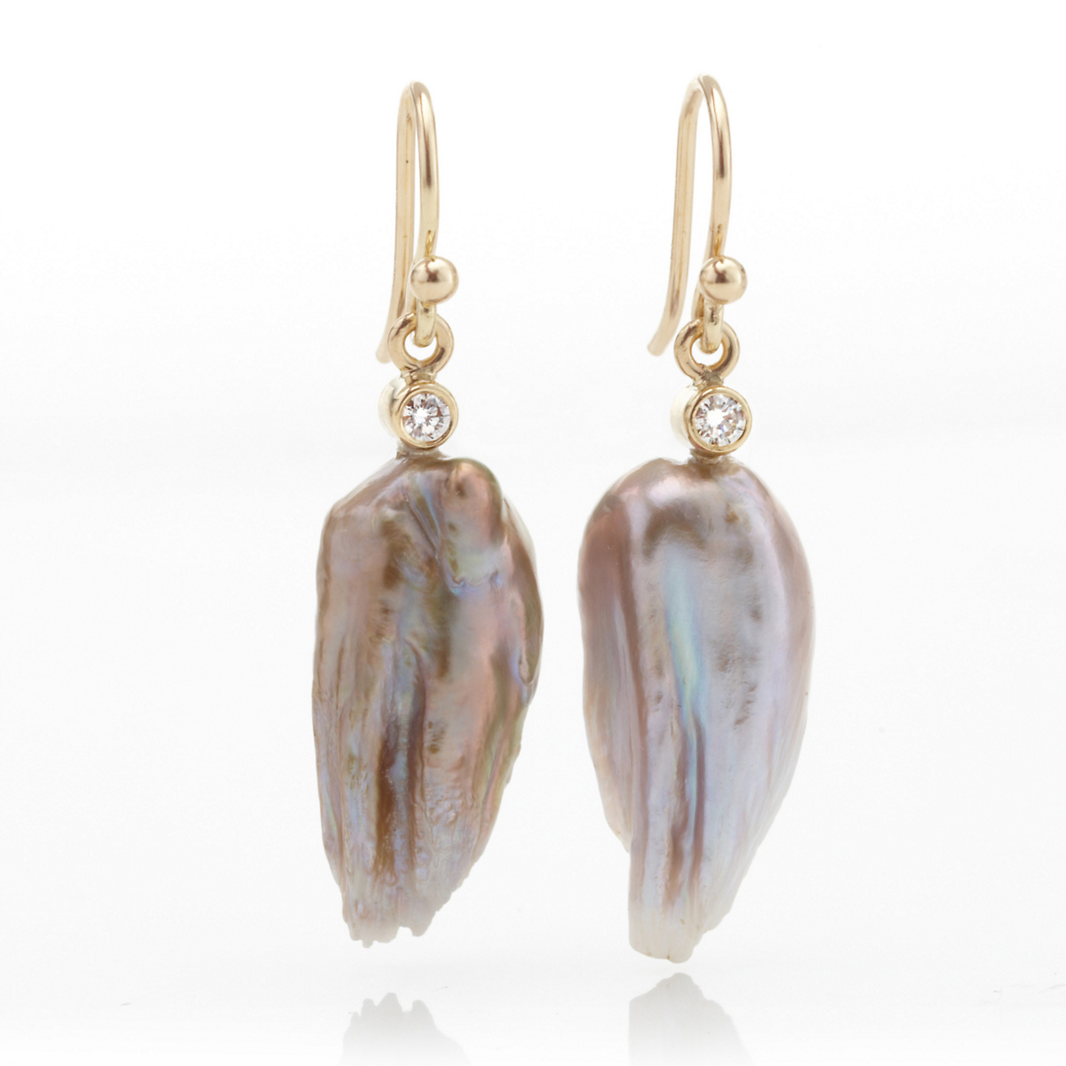 Gump's Pastel Freshwater Pearl & Diamond Drop Earrings