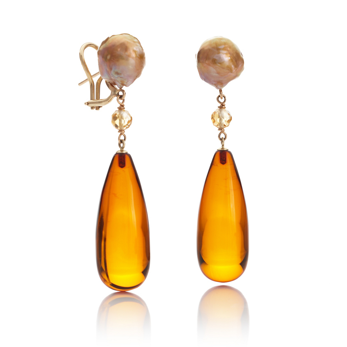 Gump's Freshwater Pearl Amber & Citrine Drop Earrings