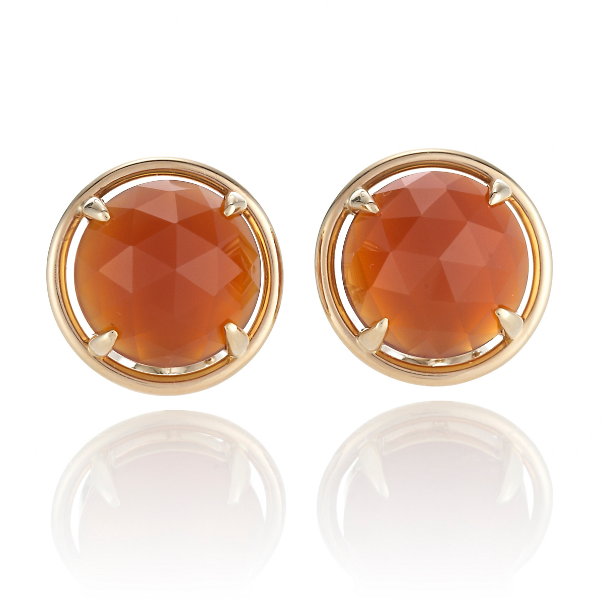 Gump's Faceted Carnelian Cabochon Earrings