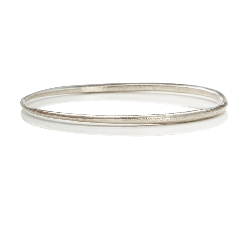John Iversen Small Textured Sterling Silver Bangle