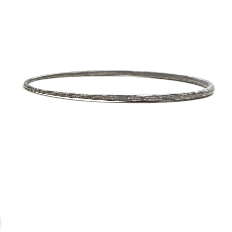 John Iversen Large Textured Oxidized Silver Bangle