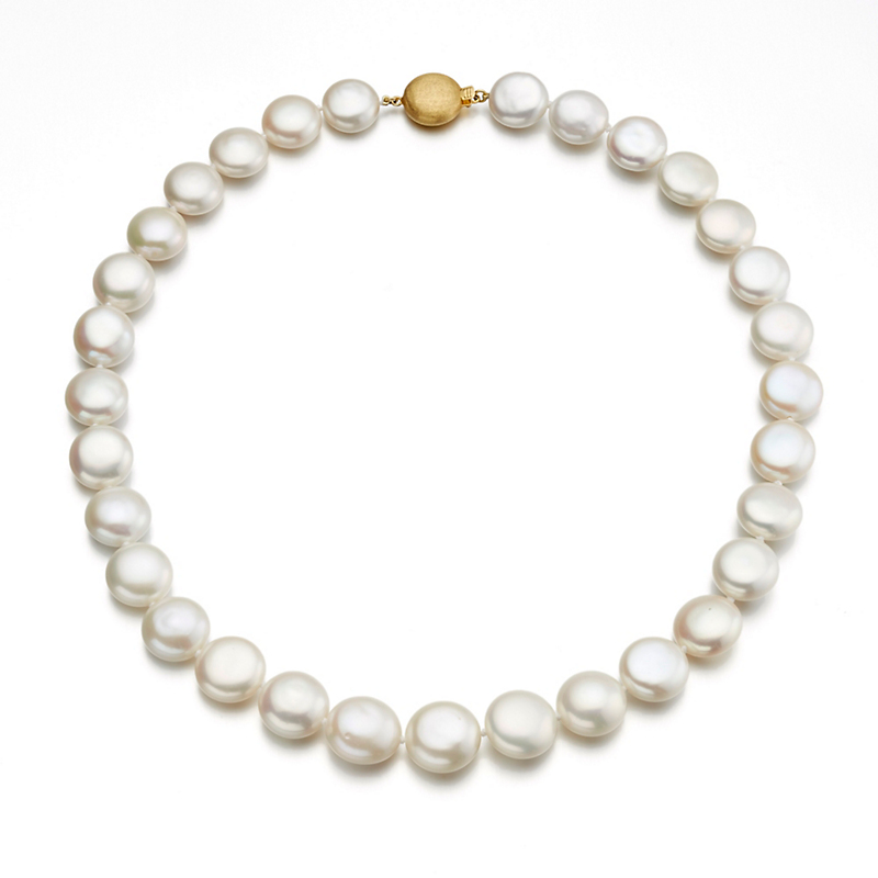 Gump's White Coin Freshwater Pearl Necklace
