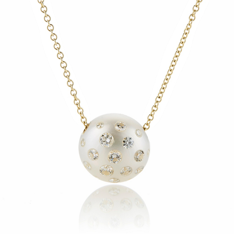 Russell Trusso Diamond Embedded Pearl Pendant Necklace