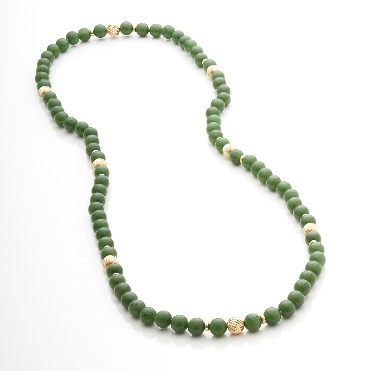Gump's Green Nephrite & Gold Bead Rope