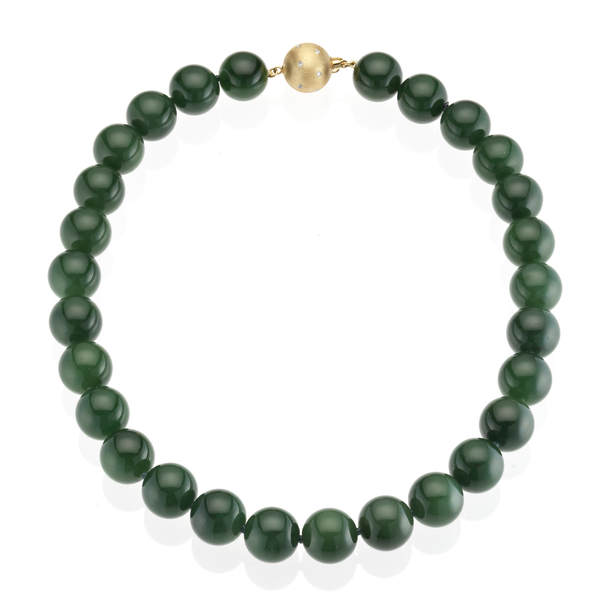 Green Nephrite Jade & Diamond Necklace