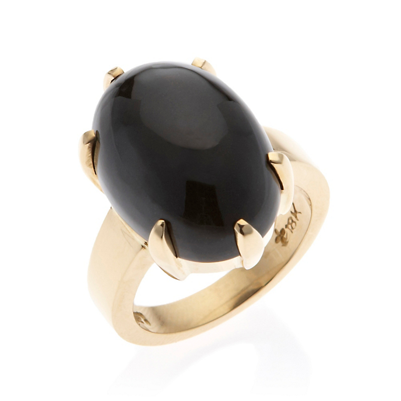 Gump's Black Nephrite Jade Six Prong Ring