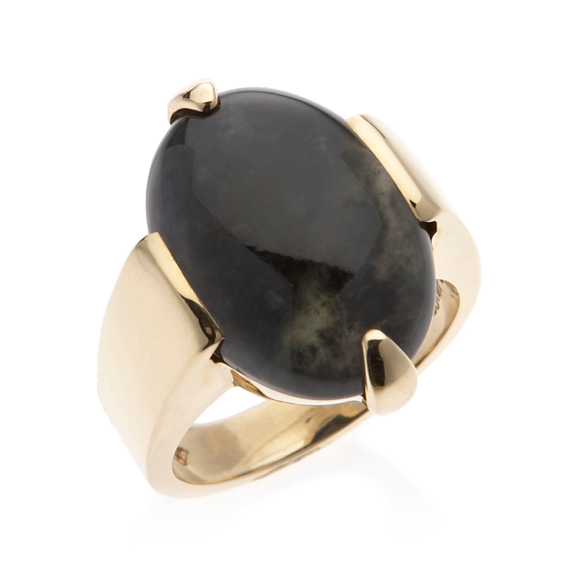 Gump's Dark Gray Jade Two Prong Ring