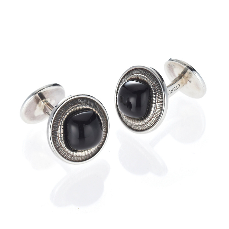 Buccellati Sterling Silver With Black Agate Cufflinks