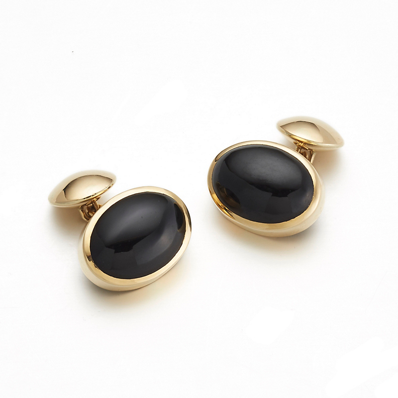Gump's  Black Jade Cufflinks With Gold Disc
