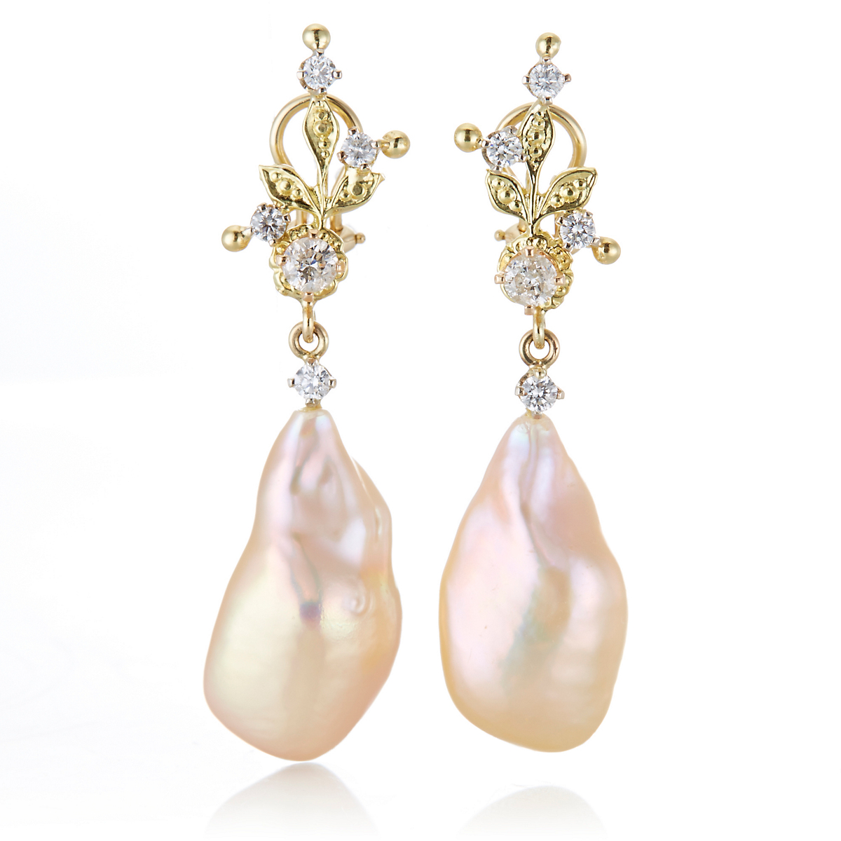 Russell Trusso Peach Baroque Pearl & Diamond Drop Earrings
