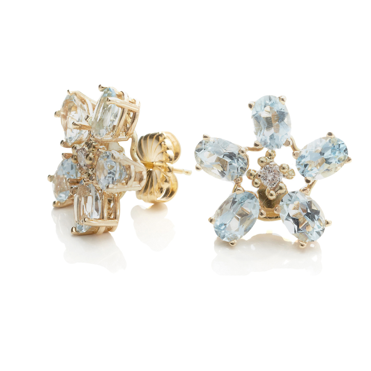 Russell Trusso Aquamarine & Diamond Flower Earrings