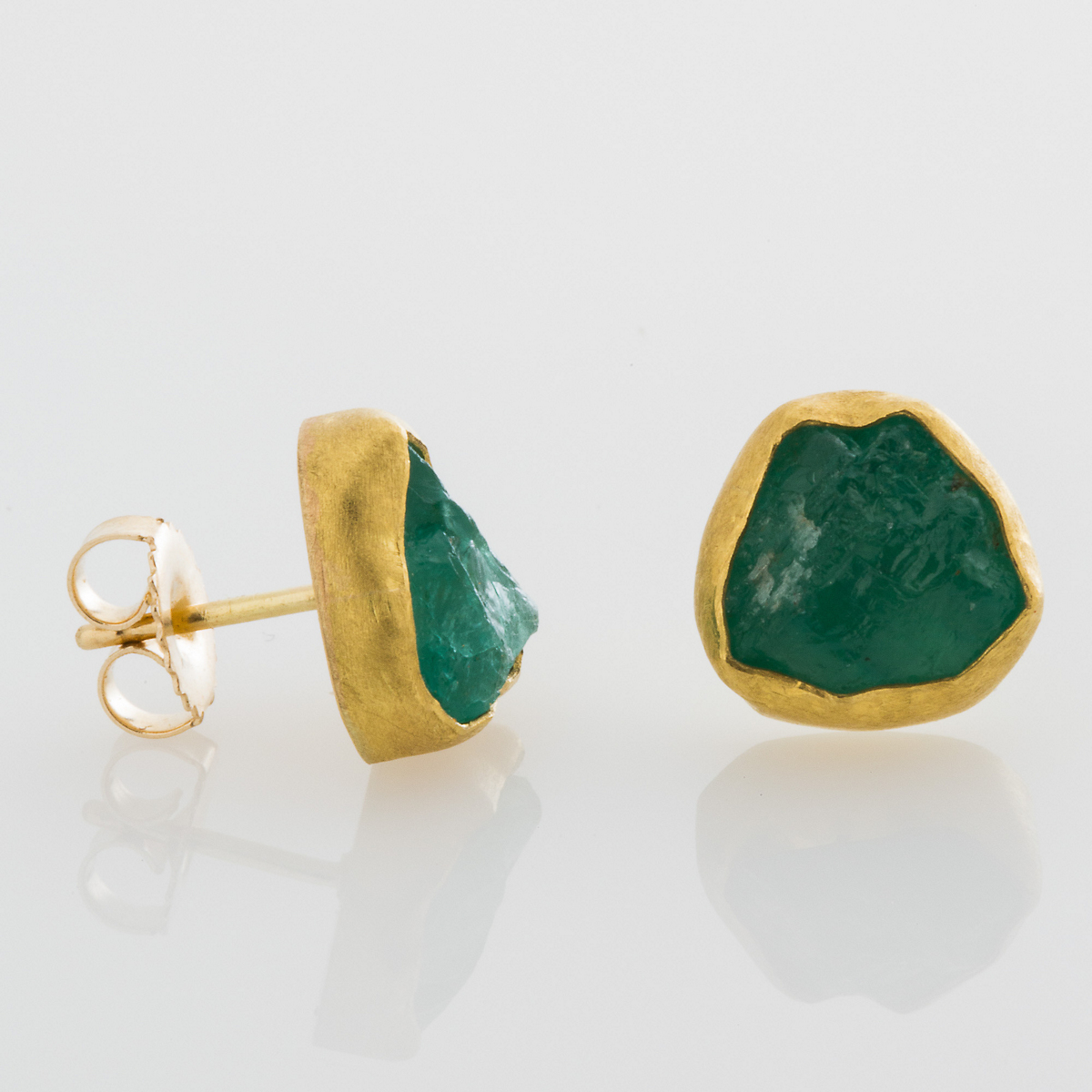 Petra Class Rough Cut Emerald Earrings