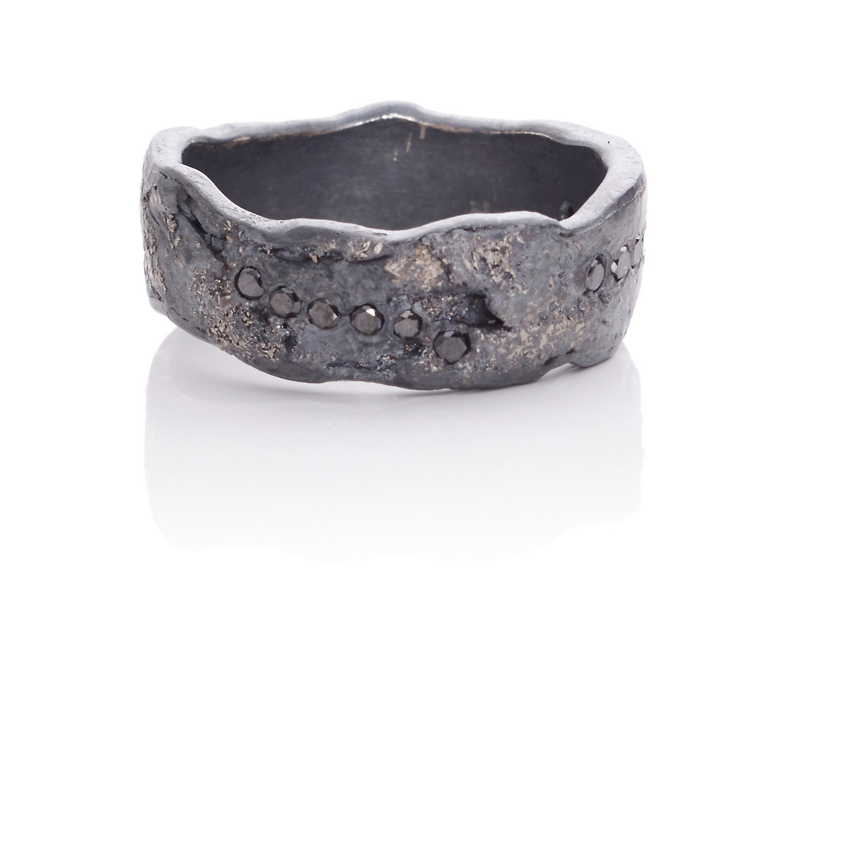 Todd Reed Oxidized Silver, Palladium & Black Diamond Band Ring