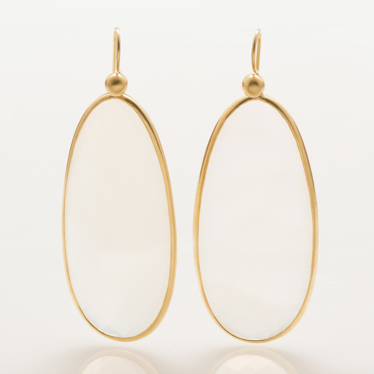 Kothari Faceted White Chalcedony Earrings