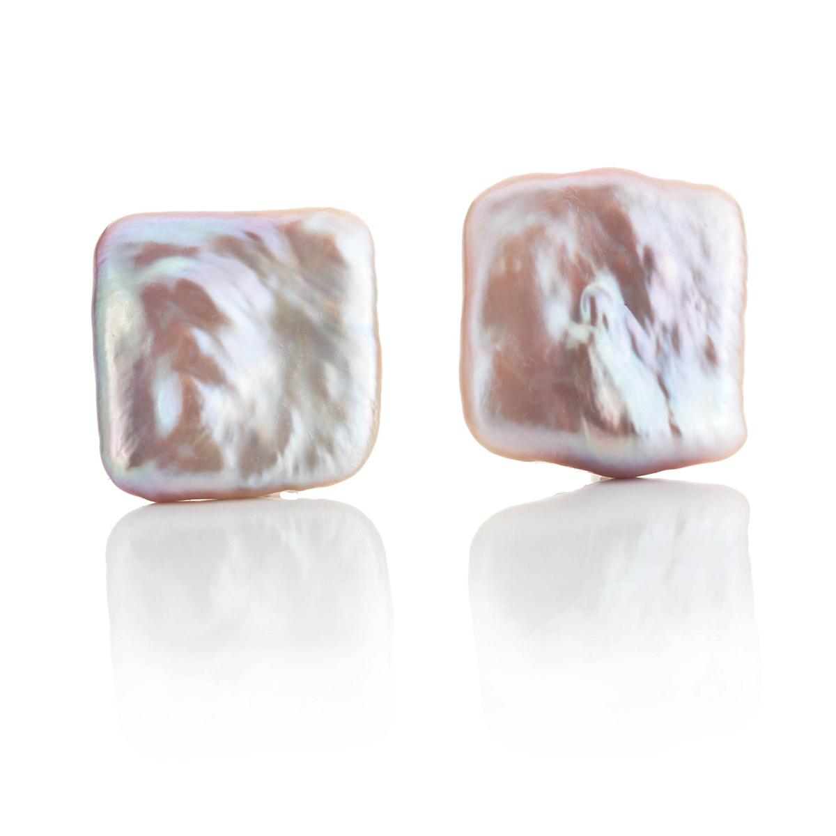 Gump's Square Pastel Freshwater Pearl Earrings